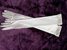Prom gloves, elbow length gloves, long white gloves, opera length gloves, burlesque gloves, bridesmaid glove, wedding gloves, bridal gloves by thevintagemagpie01 on Etsy Vintage Gloves, Wedding Gloves, White Gloves, White Satin, Magpie, Pearl Beads, Burlesque, Etsy Store, Opera