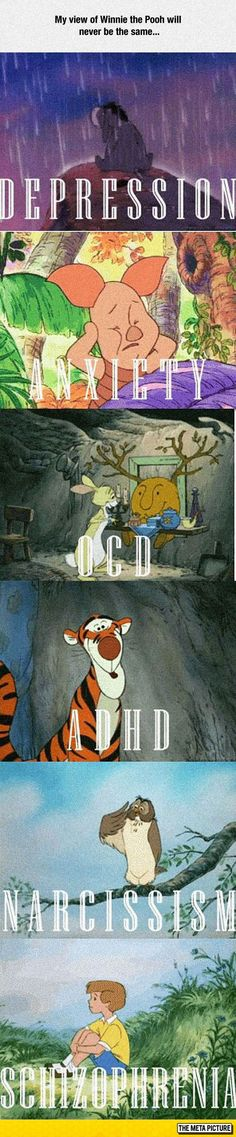 Funny pictures about The Truth Behind Winnie The Pooh. Oh, and cool pics about The Truth Behind Winnie The Pooh. Also, The Truth Behind Winnie The Pooh photos. Childhood Ruined, Right In The Childhood, Eeyore, Tigger, Nerd, Disney And Dreamworks, Disney Pixar, Fandoms, Humour Disney