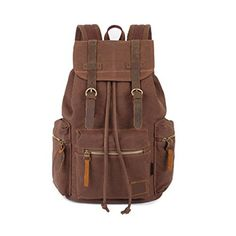 Vintage Casual Canvas Leather Backpack Rucksack School Backpack Travel Shoulder Bag Cafe #charles #keith #bag