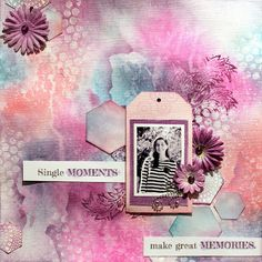 Gorgeous mixed media scrapbook page. #Cre8time with #Stampendous and #NatKalbach