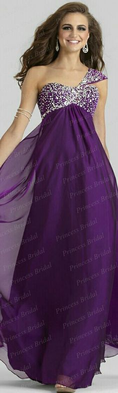CLARISSE • In Purple Plum Chiffon Skirt w. Beaded Bustline & Left Over the Shoulder Strap • #2328. *-{Image: From Princess Bridal [Lgr. Scale]}.