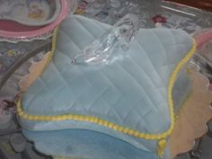 Pillow and glass slipper cake for a Cinderella Party