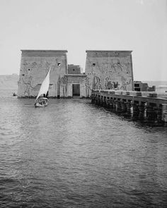 A rare picture - Philae Temple Drown in  Nile flood waters - Before construction of the High Dam