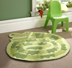 This would be perfect for my reading room!!   Flair Rugs Crocodile Childrens Green Rug 90x90cm: Amazon.co.uk: Kitchen & Home