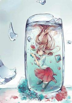 a girl in a broken glass