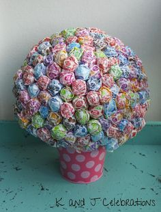 Bright and Fun Dum Dum Party Centerpiece with Polka Dot Tin Pail