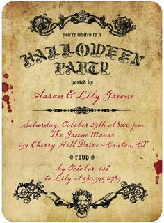 Halloween Party Invitations Scary Scroll - Front : Marigold