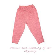 Merino Kids Raspberry Pyjama Set - Leggings Pajama Set, Pajama Pants, Merino Wool, Organic Cotton, Raspberry, Sweatpants, Range, Leggings, Classic