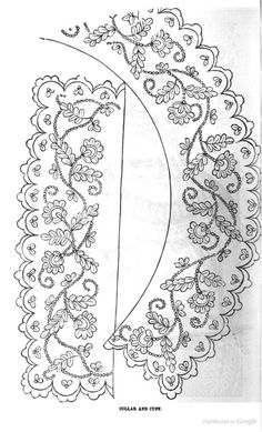 Embroidery pattern for collar and cuff; Peterson's Magazine, 1858.