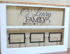Items similar to Antique window with family name and wedding date on Etsy Antique Windows, Old Windows, Double Window, Custom Windows, Wedding Gifts, Gallery Wall, Names, Crafty, Ladders