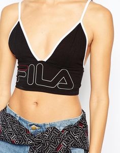 Image 3 ofFila Cropped Bralet Top With Front Logo