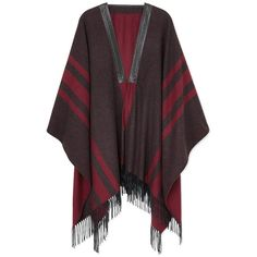 Etro Leather Trimmed Cashmere Cape ($2,845) ❤ liked on Polyvore featuring outerwear, multi, cape coat, cashmere cape and etro