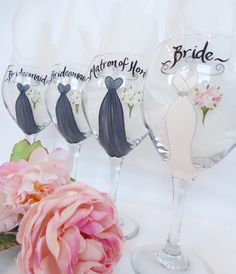 Hand Painted Personalized Bridal Party Champagne Bridesmaid Wine Glasses - Hand Painted Wine Glasses