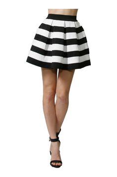 Pleated Stripe Print A-Line Skater Skirt