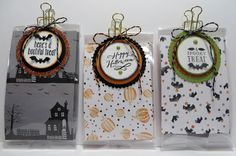 Lynn's Locker: Stampin' Up Halloween Treat/Product Holder Gift Bag, Halloween Night DSP, Spooky Fun, Jar of Haunts, Layering Circles