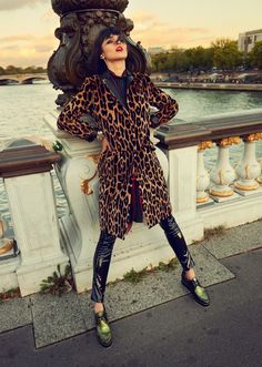 Celia Becker is a Stranger in Paris for Grazia Germany Spread - leopard coat