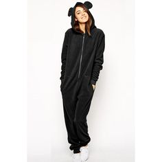 Pink Queen Black Cute Womens Casual Bear Ear Jumpsuit Hooded Onesie ($51) ❤ liked on Polyvore featuring black
