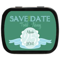 Green Ribbon Personalized Save the Date Mint Tins - Make them an Engagement Party Favor Engagement Party Favors, Wedding Party Favors, Mint Tins, Green Ribbon, Save The Date, Lunch Box, Dating, Quotes, Bento Box