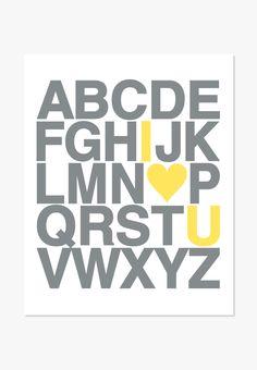 Art Print: Alphabet (Gray & Yellow)