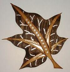 Mixed Media Leaf I by Jennifer Nichols. Wood, stain, metal, washers, tubing, copper. SOLD
