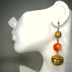 Medieval Dangle Gold Earrings w Faceted by VintageStarrBeads