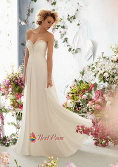 Sweetheart Chiffon Princess Wedding Dress With Court Train