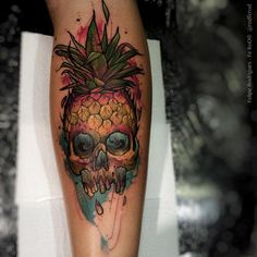 Pineapple Skull http://tattooideas247.com/pineapple-skull/