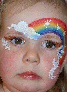 rainbow face painting (child doesn't look impressed! Girl Face Painting, Face Painting Designs, Painting For Kids, Paint Designs, Body Painting, Simple Face Painting, Face Paintings, Maquillage Hello Kitty, Rainbow Face Paint