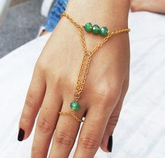 Green Crystal Gold Chain Slave bracelet Finger by BlueBoxy on Etsy, $14.00