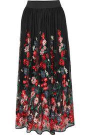 Jamie embroidered tulle midi skirt