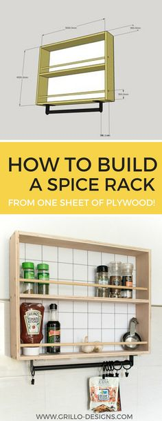 DIY hanging spice rack tutorial - I'm partnering with RYOBI EU today to bring you this awesome storage spice rack idea and giveaway!
