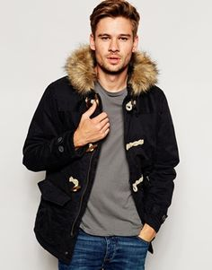 Shop River Island Duffle Jacket with Faux Fur Hood at ASOS. Winter Jackets, Men's Jackets, Saved Items, Fur Collars, Canada Goose Jackets, Fashion Beauty, Fur Coat, Fashion Outfits, River Island