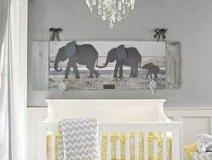 Elephant Nursery wall art - Baby room decor - Parade of elephants - Grey Elephants - Whitewash Reclaimed wood - Made in Austin, TX, USA by Authenticaa on Etsy https://www.etsy.com/listing/250132450/elephant-nursery-wall-art-baby-room