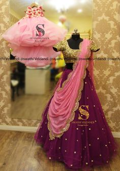 Gorgeous pink color designer bridal blouse with floral lata design hand embroidery work. Blouse with key hole design. Mom Daughter Matching Dresses, Mom And Baby Dresses, Wedding Dresses For Girls, Half Saree Lehenga, Lehnga Dress, Anarkali, Wedding Frock Designs, Half Saree Designs, Lehenga Designs