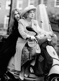 Cara Delevingne. Queen Elizabeth II.