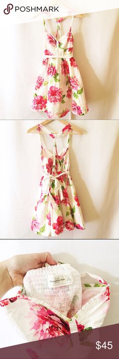 ABERCROMBIE & FITCH white floral strappy dress Amazing condition. Super pretty floral white sundress. No stains or signs of wear. Abercrombie & Fitch Dresses