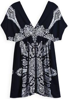 Black Short Sleeve Backless Floral Pleated Dress