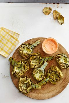 Grilled Artichokes with Harissa-Honey Dip