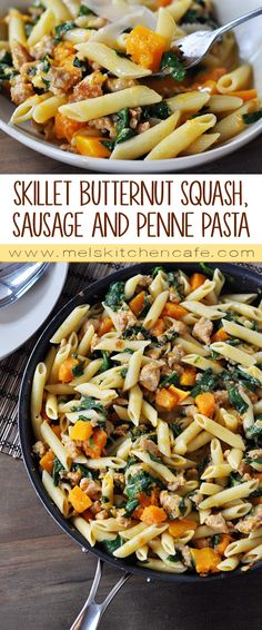 This creamy, divine butternut squash and penne pasta is made start to finish in one skillet!