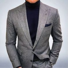 wearing a gray suit with peak lapels with a navy turtleneck and pocket square! Mens Fashion Blazer, Suit Fashion, Look Fashion, Fashion Hats, Fashion Blogs, Fashion Stores, Fashion Trends, Womens Fashion, Latest Fashion