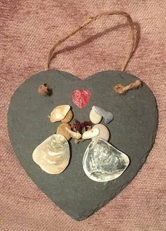 Mrs and Mrs Wedding Pebble Art Hanging Black Slate Heart