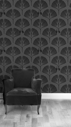 Modern wallpaper: Black + gray Ginkgo print by xJavierx, via Flickr