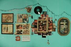 This wall reminds me of a wall in my Grandma's home scattered with photos!