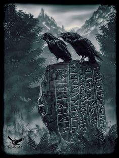 Huginn and Muninn on a runestone by the casper art.