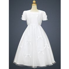 Sophias Style Lito Girls White Sleeveless Satin First Communion Dress Bolero 7-14 - Clothing - Communion & Baptism - Girls First Communion