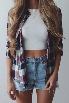47 Cute Summer Outfits Ideas To Wear in The Hot Weather . , For More Fashion Visit Our Website cute summer outfits, cute summer outfits outfit ideas,casual outfits 47 Cute. Outfits 2016, Mode Outfits, Trendy Summer Outfits, Cute Summer Clothes, Shorts Outfits For Teens, Flannel Outfits Summer, Summer Dresses, Plaid Shirt Outfit Summer, Cute Casual Outfits For Teens