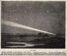 Astronomy: a comet in the night sky. Wood engraving, n.d. [c.1860?]
