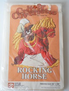 Vtg Rocking Horse Pattern Down On The Farm Critter Coverlette Quilt Sew Craft