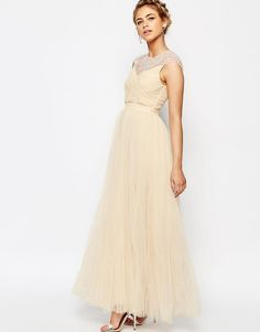 Image 1 of Little Mistress Tulle Maxi Dress With Rhinestone Trim