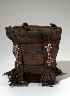 Africa | Basket from Zaire or Congo | Leather, cowrie shells, fiber cord and fiber | ca. 1916